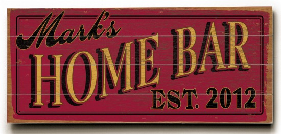 Personalized Home Bar Sign #3 - 4 Planked 14 x 32 Wood Sign - Design Your Own Sign - Sample 4