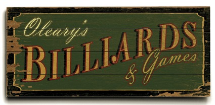 Personalized Billiards Sign - 4 Planked 14 x 32 Wood Sign - Design Your Own Sign - Sample