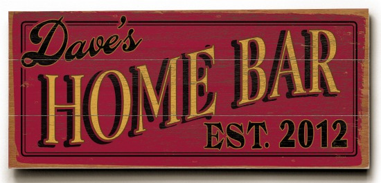 Personalized Home Bar Sign - 3 Planked 10 x 24 Wood Sign - Design Your Own Sign - Sample 2