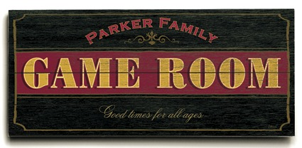 Personalized Game Room Sign - 4 Planked 14 x 32 Wood Sign - Design Your Own Sign - Sample 1