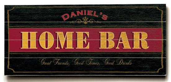Personalized Home Bar Sign - 4 Planked 14 x 32 Wood Sign - Design Your Own Sign - Sample 3