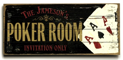Personalized Poker Room Sign - 4 Planked 14 x 32 Wood Sign - Design Your Own Sign - Sample