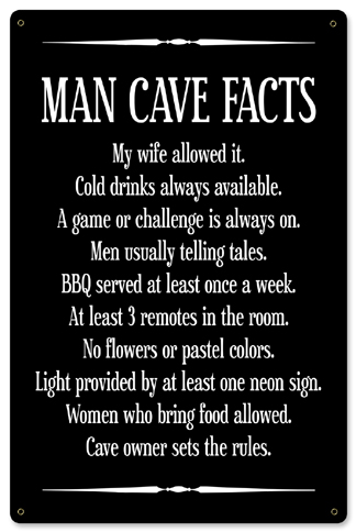 Man Cave Facts Metal Sign