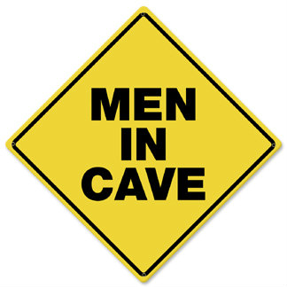 Men In Cave Caution Metal Sign