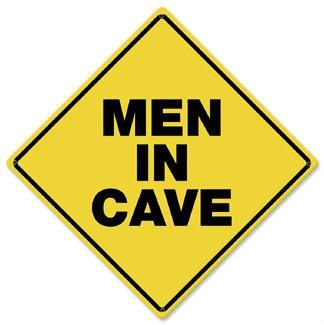 Men In Cave Caution Metal Sign