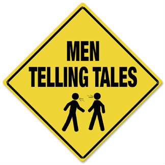 Men Telling Tales Caution Metal Sign