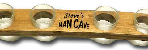 Personalized Man Cave Stave with 6 Shot Glasses - Shot Flight