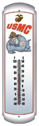 Marines Bulldog Metal Thermometer