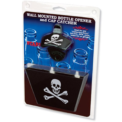 skull and crossbones bottle opener cap catcher set. Black Bedroom Furniture Sets. Home Design Ideas