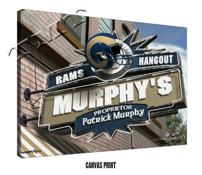 Personalized St Louis Rams NFL Sports Room Pub Sign - Canvas Mounted Print