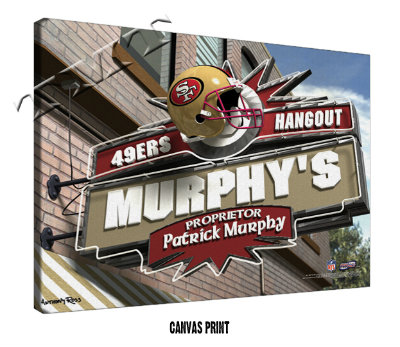 Personalized San Francisco 49ers NFL Sports Room Pub Sign - Canvas Mounted Print