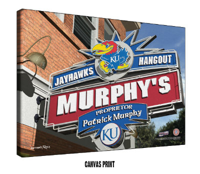 Personalized Kansas Jayhawks NCAA Football Sports Room Pub Sign - Canvas Mounted Print