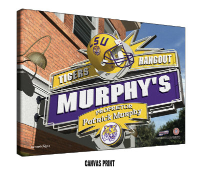 Personalized LSU Tigers NCAA Football Sports Room Pub Sign - Canvas Mounted Print