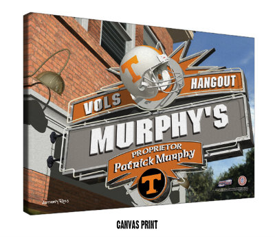 Personalized Tennessee Volunteers NCAA Football Sports Room Pub Sign - Canvas Mounted Print