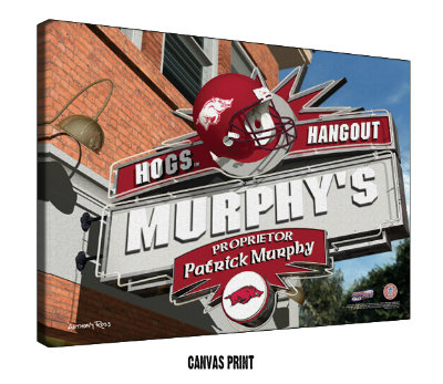 Personalized Arkansas Razorbacks NCAA Football Sports Room Pub Sign - Canvas Mounted Print