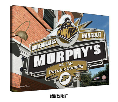 Personalized Purdue Boilermakers NCAA Football Sports Room Pub Sign - Canvas Mounted Print