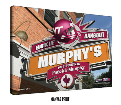 Personalized Virginia Tech Hokies NCAA Football Sports Room Pub Sign - Canvas Mounted Print