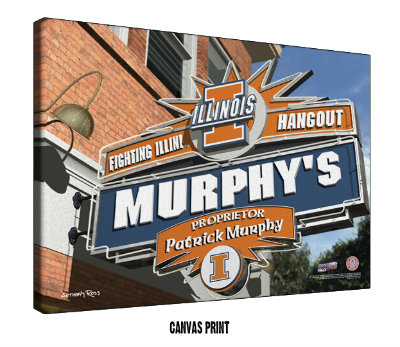 Personalized Illinois Fighting Illini NCAA Football Sports Room Pub Sign - Canvas Mounted Print