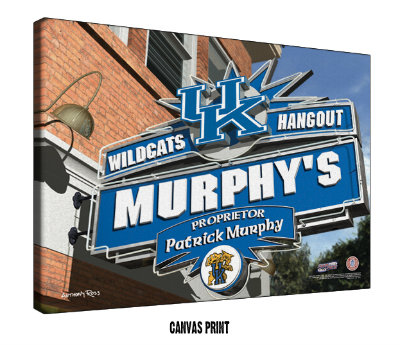 Personalized Kentucky Wildcats NCAA Football Sports Room Pub Sign - Canvas Mounted Print