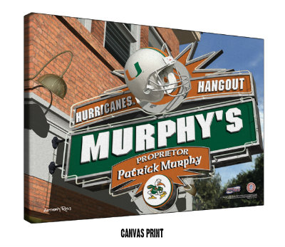 Personalized Miami Hurricanes NCAA Football Sports Room Pub Sign - Canvas Mounted Print