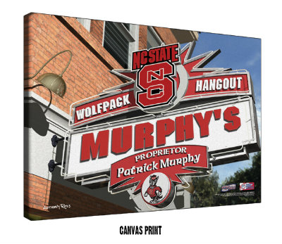 Personalized North Carolina State Wolfpack NCAA Football Sports Room Pub Sign - Canvas Mounted Print