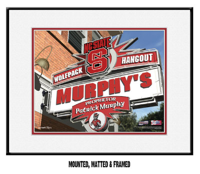 Personalized North Carolina State Wolfpack NCAA Football Sports Room Pub Sign - Matted Framed Print