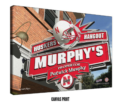 Personalized Nebraska Cornhuskers NCAA Football Sports Room Pub Sign - Canvas Mounted Print