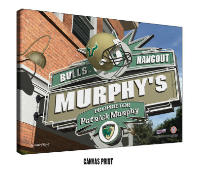 Personalized South Florida Bulls NCAA Football Sports Room Pub Sign - Canvas Mounted Print