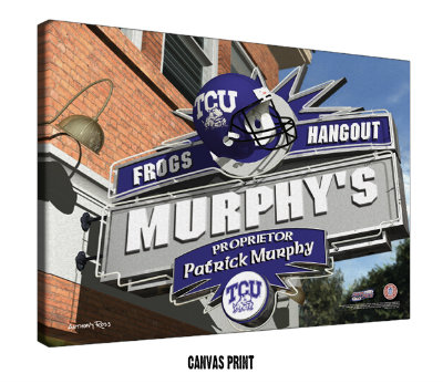 Personalized TCU Horned Frogs NCAA Football Sports Room Pub Sign - Canvas Mounted Print