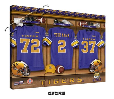 Personalized LSU Tigers Football Locker Room Sign - Canvas Mounted Print