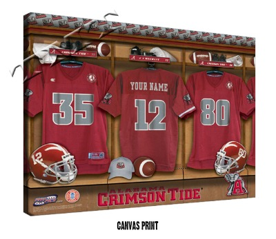 Personalized Alabama Crimson Tide Football Locker Room Sign - Canvas Mounted Print