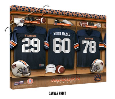 Personalized Auburn Tigers Football Locker Room Sign - Canvas Mounted Print