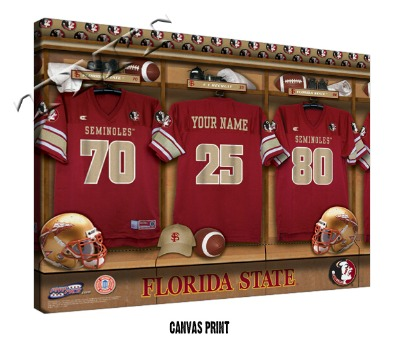 Personalized Florida State Seminoles Football Locker Room Sign - Canvas Mounted Print