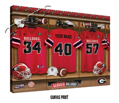 Personalized Georgia Bulldogs Football Locker Room Sign - Canvas Mounted Print