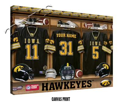 Personalized Iowa Hawkeyes Football Locker Room Sign - Canvas Mounted Print
