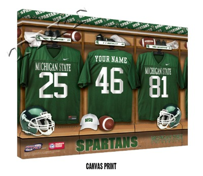 Personalized Michigan State Spartans Football Locker Room Sign - Canvas Mounted Print
