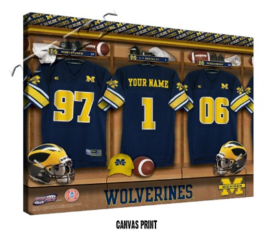 Personalized Michigan Wolverines Football Locker Room Sign - Canvas Mounted Print