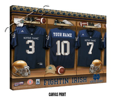 Personalized Notre Dame Fighting Irish Football Locker Room Sign - Canvas Mounted Print