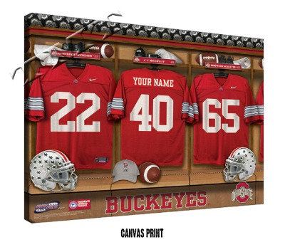 Personalized Ohio State Buckeyes Football Locker Room Sign - Canvas Mounted Print