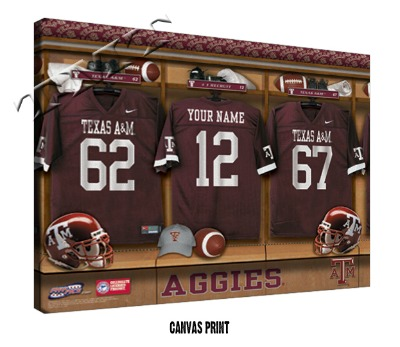 Personalized Texas A & M Aggies Football Locker Room Sign - Canvas Mounted Print