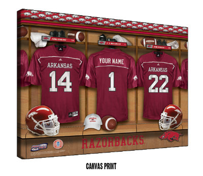 Personalized Arkansas Razorbacks Football Locker Room Sign - Canvas Mounted Print