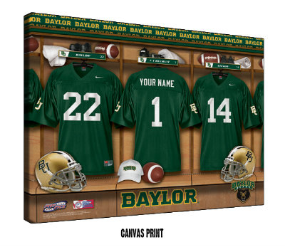 Personalized Baylor Bears Football Locker Room Sign - Canvas Mounted Print