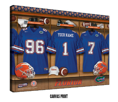 Personalized Florida Gators Football Locker Room Sign - Canvas Mounted Print