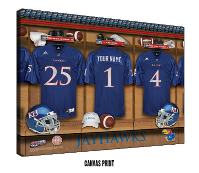 Personalized Kansas Jayhawks Football Locker Room Sign - Canvas Mounted Print