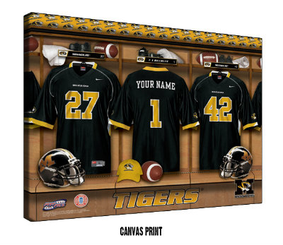 Personalized Missouri Tigers Football Locker Room Sign - Canvas Mounted Print