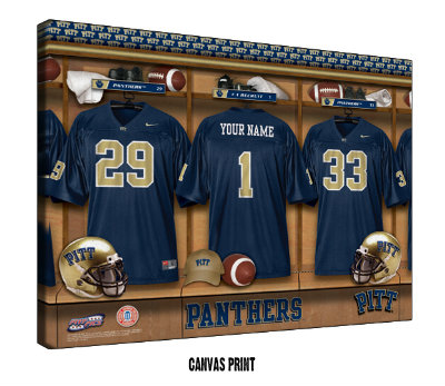 Personalized Pittsburgh Panthers Football Locker Room Sign - Canvas Mounted Print