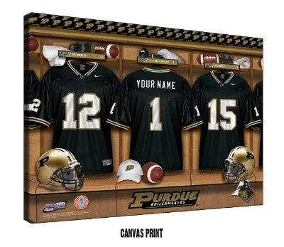 Personalized Purdue Boilermakers Football Locker Room Sign - Canvas Mounted Print