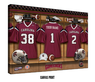 Personalized South Carolina Gamecocks Football Locker Room Sign - Canvas Mounted Print