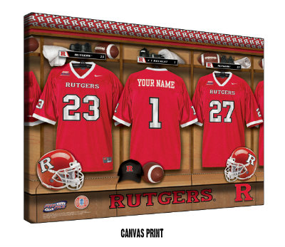 Personalized Rutgers Scarlet Knights Football Locker Room Sign - Canvas Mounted Print
