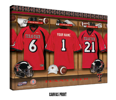 Personalized Texas Tech Red Raiders Football Locker Room Sign - Canvas Mounted Print